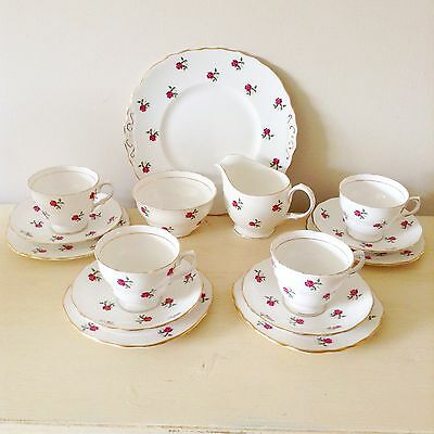 Vintage Colclough Bone China Floral Rosebud Tea Set Trios Milk Sugar Cake Plate