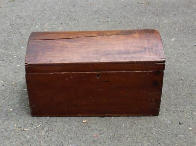 Antique Toy Treasure Doll Chest Hump Style Wooden Dated 1860