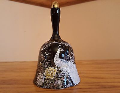 Shibata Japan Design Porcelain Decorative Bell Peacock Blossoms Flowers