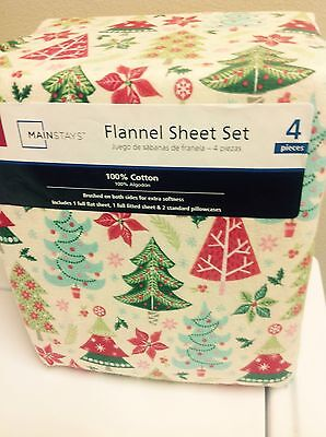 Mainstays Full Size Christmas Tree 4 Piece Flannel Sheet Set NEW