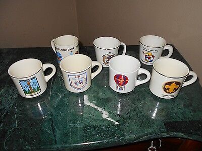 Huge Lot of 7 Old Antique Vintage Boy Scouts Scout O Rama Mid America Mugs Cups