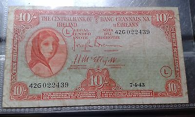 1943 Lady Lavery 10 shilling note War Code L
