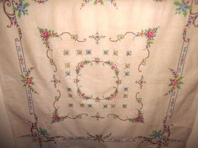 Vintage hand embroidered TABLECLOTH ecru cross stitch 6 napkins unused shabby