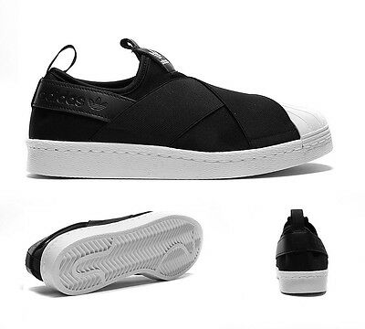 Womens Adidas Superstar Black/White Slip On Trainers RRP £74.99