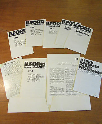 VINTAGE ILFORD PRODUCT INFORMATION FOLDER - PAMPHLETS inc ILFORD and some KODAK