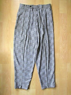 VGC Vtg 80s New Wave Cotler Gray Dash Baggy Pleated Taper Leg Cuffed Pants 30W