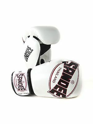 Sandee Cool-Tec Muay Thai White, Black & Red Leather Boxing Gloves Sparring