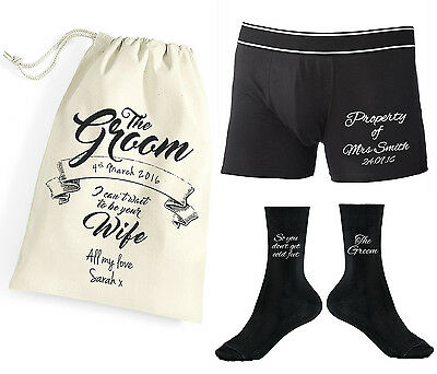 Personalised Property of Mrs Groom Boxer Shorts Socks Underwear Wedding Gift Bag