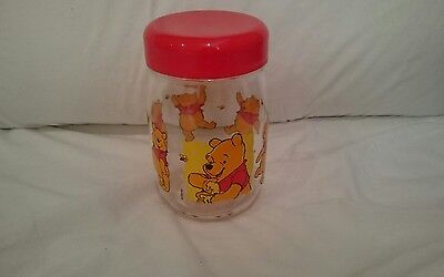WALT DISNEY - VINTAGE WINNIE THE POOH - SCREW TOP GLASS JAR - RARE 1970s France