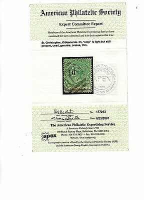 St. Christopher Stamps / S, Gibbons #25 With Aps Certificate !!!