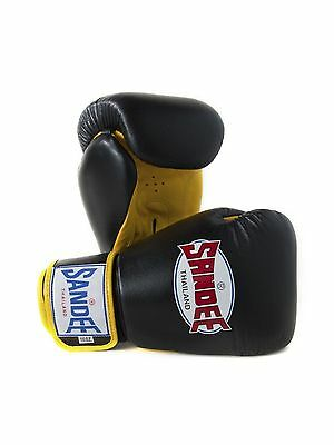 Sandee Authentic Muay Thai Black & Yellow Leather Boxing Gloves Sparring