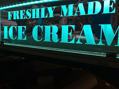 ICE  CREAM LED SIGN  ANY SIZE TEXT OR LOGO office shop SCHOOL WORK REMOTE CON