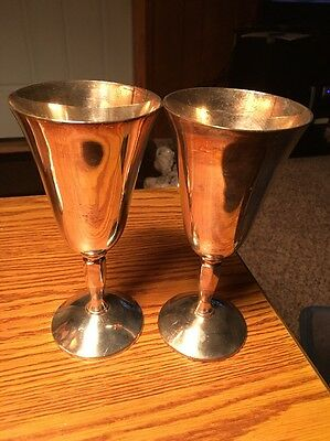 Vtg Plator Of Spain Set Of 2 Wine Goblets 7 Inches Tall RARE