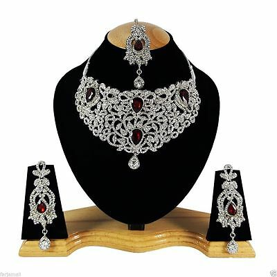 Indian Vintage Style Jewellery Set Red Clear Stone Silver Plated New Aq328