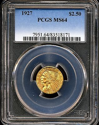 1927 G$2.5 Indian Head Gold Quarter Eagle MS64 PCGS 83518171