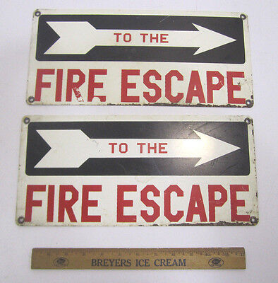 Vintage Industrial Commercial Metal Painted To The Fire Escape Signs Pair (2)