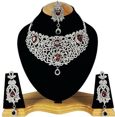 Indian Vintage Style Jewellery Set Purple Clear Stone Silver Plated New Aq330