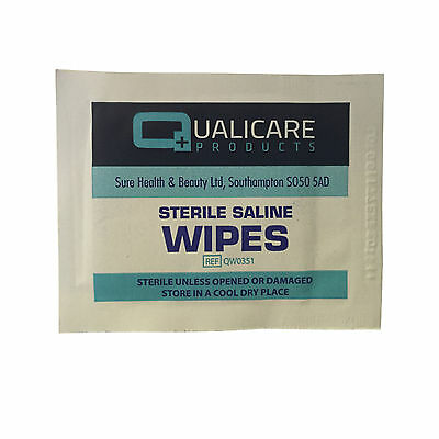 Qualicare First Aid Sterile Saline Alcohol Free Skin Safe Wound Cleansing Wipes