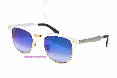 RAY BAN RB 3507 137/7Q  Silver Blue Grad CLUBMASTER 49MM Sunglasses NWT AUTH