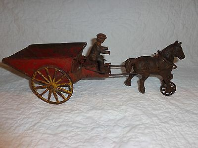 Antique Cast Iron & Tin Horse & Wagon Cart Pull Toy
