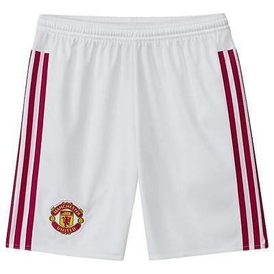Manchester United adidas white children's home football shorts 2015-16 age 14-16
