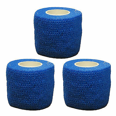 3x CMS Medical Self Adhesive Cohesive Bandage Blue 5cm Sport Support Wrap Roll