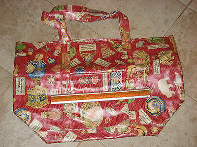 $75 Nordic House Designs Faberge Red Pattern Large Tote New Great For Beach