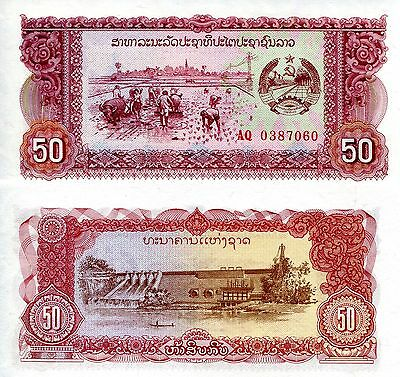 LAOS 50 Kip Banknote World Paper Money UNC Currency Pick p-29a Note Bill (LAO)