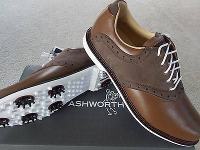 Ashworth Mens Golf Shoes Leucadia Saddle Waterproof Uk 8 1/2 Eu 42 2/3 Leather