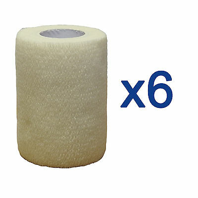 6 Pack CMS Self Adhesive Cohesive Coban Bandage White 7.5cm Athletic Roll Tape