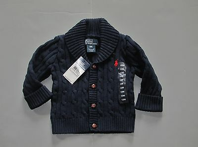Ralph Lauren Polo Baby Chunky Cable Cardigan Sweater Shawl 3M 6M 9M Genuine NWT