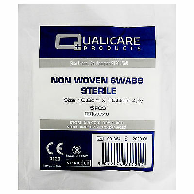Large Qualicare 10cm x 10cm Absorbent Non Woven Sterile 4PLY Gauze Swabs x 5