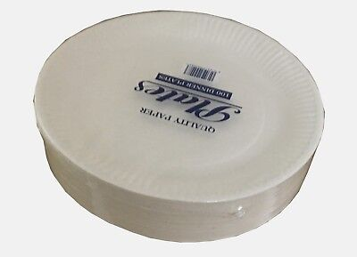 "Pack Of 100 White Disposable Paper Plates 7"" / 9"" perfect for BBQ and parties"