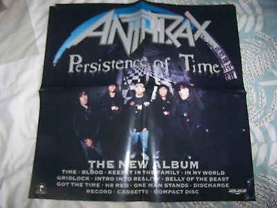 Anthrax - 'persistence Of Time' Giant Promo Poster - Thrash