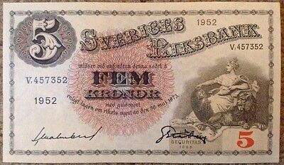 Sweden Banknote. 5 Kronor. Aunc. Dated 1952. Rare.