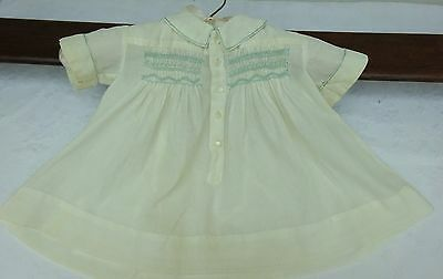 Baby Smock Dress Handmade Smocking Cream Vintage Antique Dolls Early 1900's