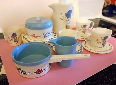 Vintage Holly Hobbie Plastic Tea Cook 17 pc Dish Set Chilton American Girl size