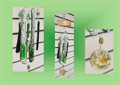 Green Icicles Fused Glass Wind Chime with Orgone Labradorite Green Opal Windchim