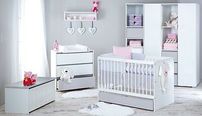 BABY FURNITURE SET WOODEN WHITE & GREY COT BED MATTRESS 140x70 +CHEST OF DRAWERS