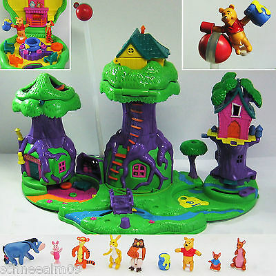 Disney Polly Pocket Winnie The Pooh 100% complete 100 Acre Wood Playset Puuh,