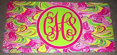 Lilly Pulitzer Inspired All Nighter Monogram License Plate New Personalized Tag