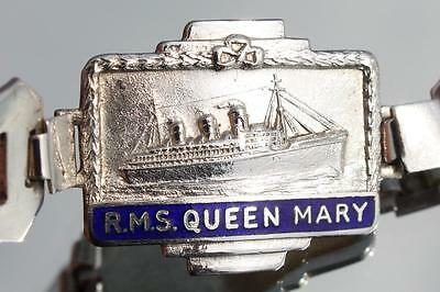 Cunard White Star Line Rms Queen Mary Solid Silver & Enamel Ladies Bracelet 40's
