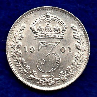 Great Britain, Victoria, 1901 Threepence, High Grade (Ref. c5679)