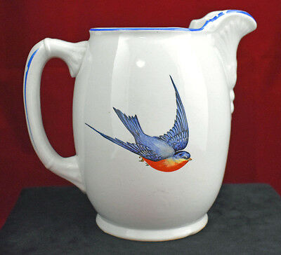 """Vintage Buffalo Pottery """"Blue Birds of Happiness"""" Water Pitcher, Circa 1919-1922"""
