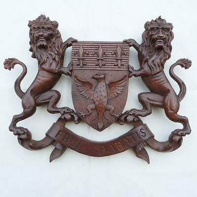A Dandy Pair of Heraldic Lions. Armorial Coat of Arms.