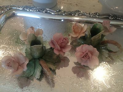 Antique Italian Capodimonte Porcelain Pair Of Floral Candlesticks Holders Marked