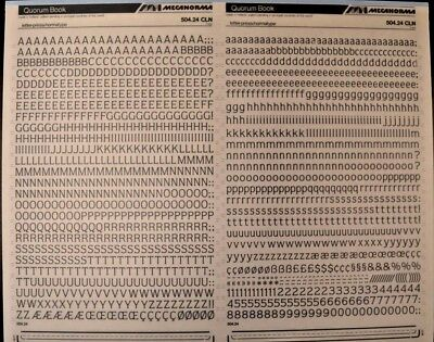 Mecanorma Dry Transfer Lettering Sheet A3, Letraset #32, QUORUM Book 7mm