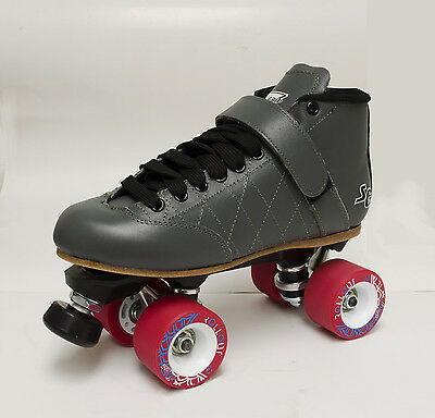 Sure-Grip Grey Leather Quad Speed/ Derby Roller Skates - Women's Size 9 & More