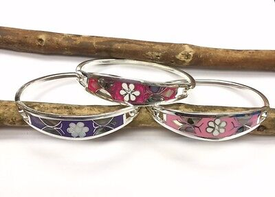 Bracelet Mexico sterling Silver Plated Mother Of Pearl Abalone Floral Daisy Gift