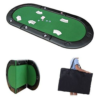 8 Players LARGE Foldable Poker Pad Texas Holdem Table Top Cup Holder Home Casino